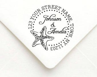 Personalized Self Inking Return Address Stamp - self inking address stamp - Custom Rubber Stamp, Star Fish Address Stamp A48