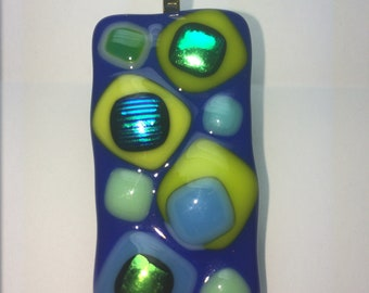 Blue glass pendant with blue and green dichroic