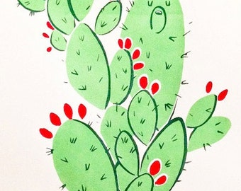 Prickly Pear Bear Cactus Print- original silk screen limited edition