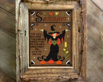 Samhain Halloween Witch Cross Stitch Pattern Primitive Instant Download Digital PDF Wiccan