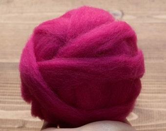 Fuchsia Pink Wool Roving Supply for Needle Felting, Wet Felting, Spinning, Dyed Felting Wool, Raspberry, Dark Pink, Fiber Art Supplies