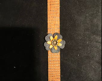 Orange And Black Flower Leather Bracelet