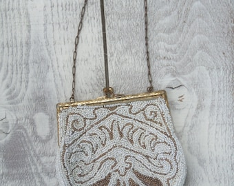 Antique White and Gold Beaded Purse