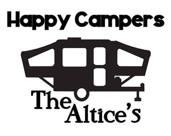 Personalized Happy Camper Decal