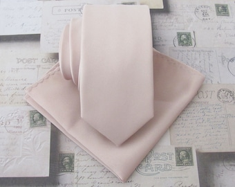 Mens Tie. Nude Pink Pale Blush Skinny Necktie With *FREE* Matching Pocket Square Set