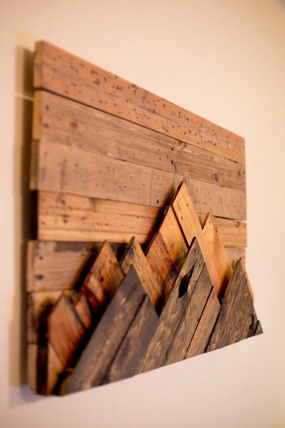 50 Wooden Mountain Range Wall Art