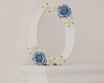 Nursery Letter - Floral Wooden Letter - Nursery - Baby Shower Gift - Free Standing - Blue & White