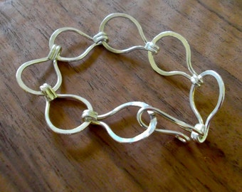 Forged fine silver loop-in-loop bracelet