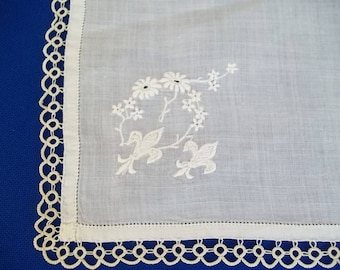 Handkerchief Vintage  French? Fleur Dis Lis Embroidery with Tatted Edge
