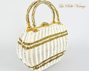 60s Beaded White Wicker Purse Vintage Gold Glass Beads Handbag