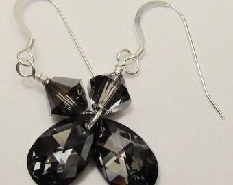 Grey Crystal Earrings, Swarovski Crystal Silver Night Teardrop Earrings, Sterling Silver Gray Crystals