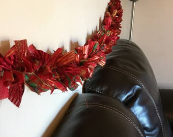 Christmas garland, ribbon garland, Christmas swag, mantle decor