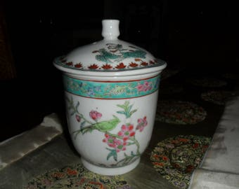 Vintage Asian Lidded Pot with Handle