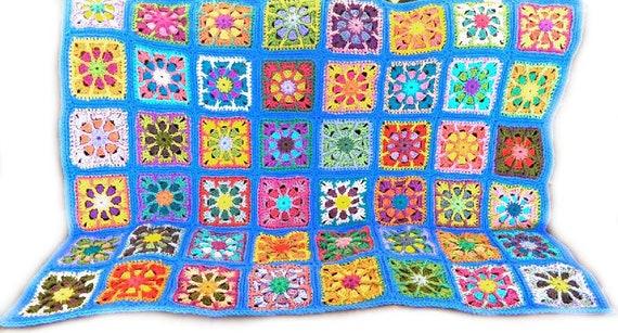 Häkeln Sie afghanischen Kaleidoskop Oma Feld 44 Zoll x 58 in