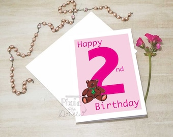 Girls 2nd birthday card, greetings card, Second Happy Birthday card, Rocking horse card, Girls second birthday, 2nd girls birthday card.