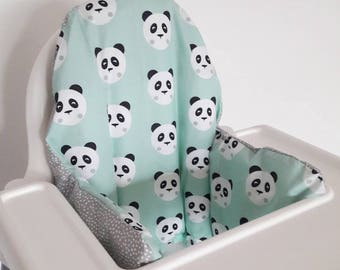 Cushion cover for the Antilop IKEA highchair - cushion cover only - Mint Panda and dotty grey fabric cushion cover - gender neutral new baby