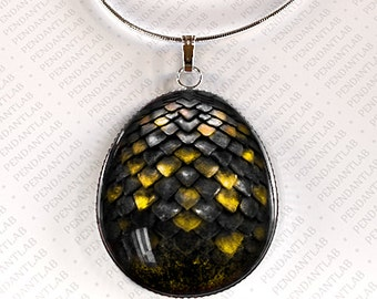 Devil Dragon Egg Pendant, Jewelry, Dragon Necklace, Dragon Egg Necklace, Geekery, Christmas Gift, Yellow