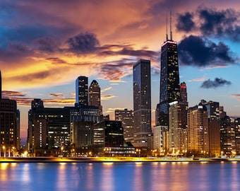 United States - Illinois - Chicago skyline at dusk - SKU 0167