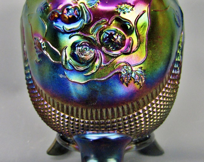 Gorgeous FINE CUT & ROSES Amethyst Carnival Glass Footed Rose Bowl by Northwood