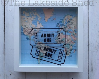 Shadow Box Ticket | Ticket Shadow Box | Admit One Shadow Box | Ticket Stub Box | Travel Memory Box | Memory Shadow Box | Concert Ticket Box