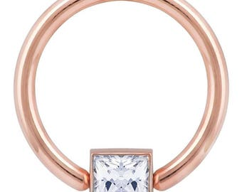 Princess CZ Side Mount Bezel 14K Rose Gold Captive Bead Ring
