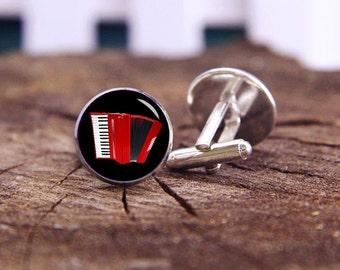 Red Accordion Cufflinks, Accordion Cuff Links, Custom Instrument Cufflinks, Custom Wedding Cufflinks, Groom Cufflinks, Tie Clip, Or Set