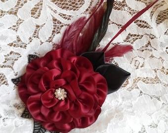 Apple Red Flower Hair Flower Accessory, Burgandy Wine Hair Flower Clips, Dark Red Wedding Flower Clip, Dark Red Black Feather Fascinator