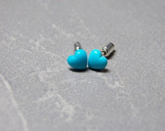 4mm Sleeping Beauty Turquoise Gemstone Heart Post Earrings with Sterling Silver