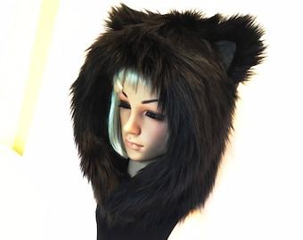 Black Cat Hood Faux Fur Animal Kitty Hat