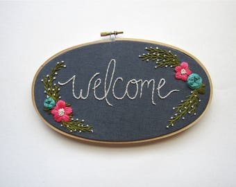Welcome Sign. First Home Housewarming Gift. Gifts under 100. Gift for the Couple. First Home Sign. Embroidered Sign. Linen Decor KimArt