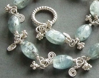 Iridescent Blue Kyanite Bracelet with Silver Spirals, Kyanite Jewelry, Light Blue Gemstone Bracelet