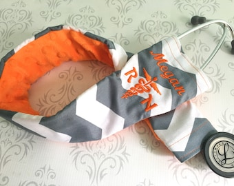 Embroidered RN Stethoscope Cover - Registered Nurse - Gift for Nurse - Dark Gray Chevron with Orange -  Gift Nurse
