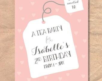 Printable Tea Party Birthday Invitation