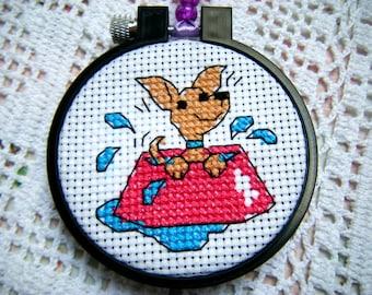 Cross Stitch Cute Dog/Cute Wall Hanging Art