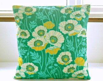 green blue yellow cream poppies decorative pillow cover, flowers leaves cushion cover 18 inch