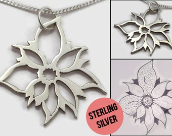 Personalised Drawing Necklace - A sterling silver custom art pendant - Turn drawings into jewelry, a gift for artists