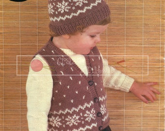 """Baby Sweater Waistcoat and Cap 20-22"""" DK Sirdar 3369 Vintage Knitting Pattern PDF instant download"""