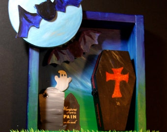Gothic Halloween Haunted Graveyard moon ghosts bats coffin wood wall decor