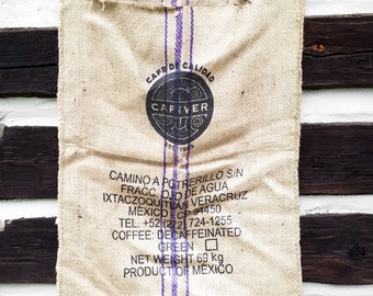 Vintage Cafe De Calidad Coffee Burlap Sack with Tribal Graphics; Industrial Tropic Decor Textile Wall Hanging