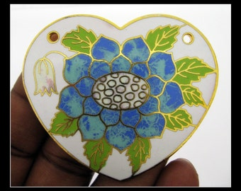 Only 2 in stock-Huge 1960s Vintage Enamel and Brass Flower Pendant- Style 1