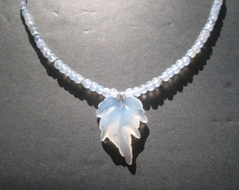 """Carved chalcedony leaf necklace-16.75"""""""
