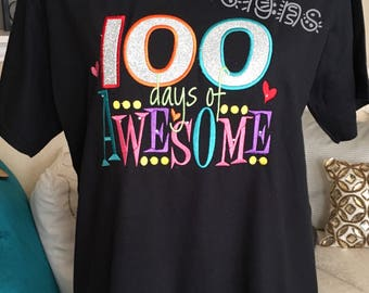 100 Days of School t shirt for all sizes- 100 days of awesome t shirt with sparkle and crystal embelishment- colorful and cute 100 days