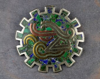 Vintage Taxco SH  Silver, Mixed Metales, Mosaic Pendant & Brooch