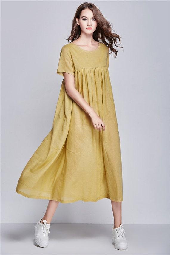 yellow beach dress summer holiday trip maxi linen dress. Black Bedroom Furniture Sets. Home Design Ideas