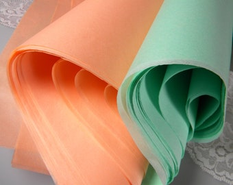 "Tissue Paper Sheets Peach & Mint Green 48 Sheets of 20"" X 30"" DIY Mint Peach Wedding Decor - Packaging Tissue Sheets - Gift Wrap Tissue"