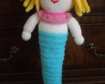 Hand knitted Mermaid Doll/Soft Toy (ALL proceeds to the Cystic Fibrosis Trust)