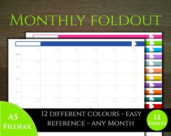 Monthly planner - foldout two page - Colourful Classic style -  A5 ideal for filofax
