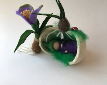 Spring in a Buddha nut. Root child Felted.Waldorf.Crocus flower.