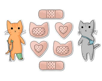 Cute Cat Stickers, Paper Stickers, Journaling, Sticker Flakes, Cute Cats, Stationery, Scrapbooking, Get Well Soon, Medical, Nurse Stickers