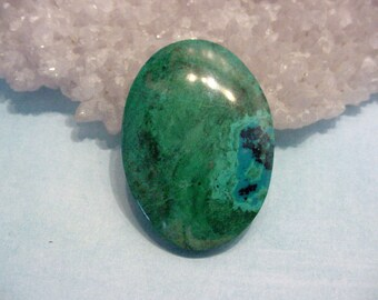 SALE 56ct Chrysocolla Stone Cabochon Oval 36.5mm Vibrant Green Blue Jewelry Supply Lapidary 16T77